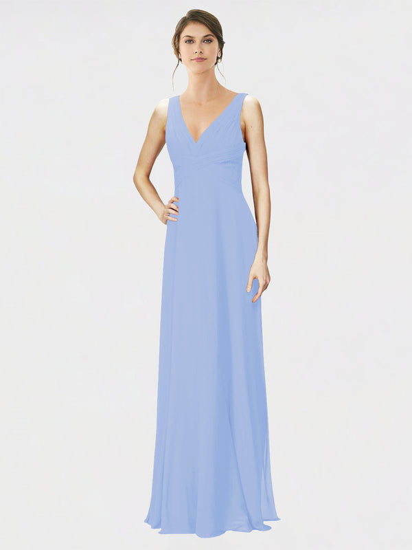 Mila Queen Jennylyn Bridesmaid Dress Lavender - A-Line V-Neck Long Bridesmaid Gown Jennylyn in Lavender