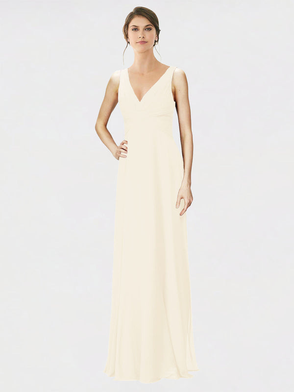 Mila Queen Jennylyn Bridesmaid Dress Light Champagne - A-Line V-Neck Long Bridesmaid Gown Jennylyn in Light Champagne