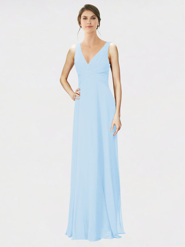 Mila Queen Jennylyn Bridesmaid Dress Light Sky Blue - A-Line V-Neck Long Bridesmaid Gown Jennylyn in Light Sky Blue