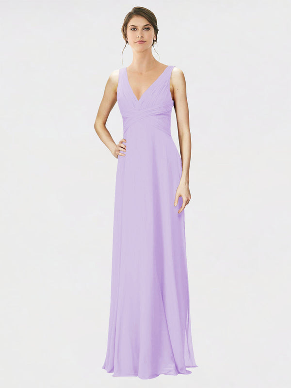 Mila Queen Jennylyn Bridesmaid Dress Lilac - A-Line V-Neck Long Bridesmaid Gown Jennylyn in Lilac