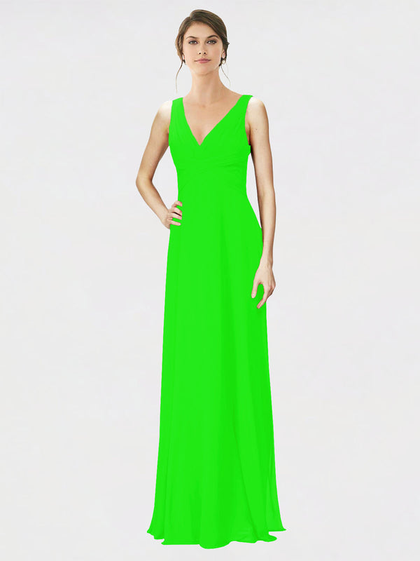 Mila Queen Jennylyn Bridesmaid Dress Lime Green - A-Line V-Neck Long Bridesmaid Gown Jennylyn in Lime Green