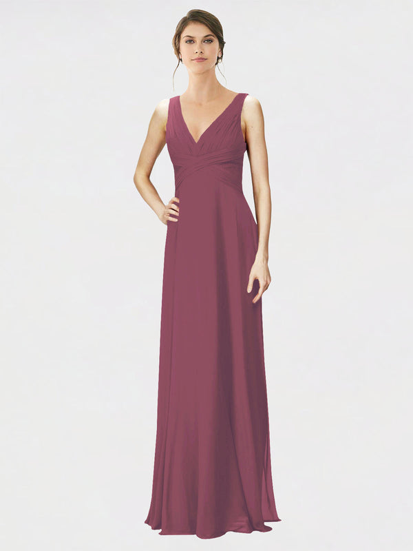 Mila Queen Jennylyn Bridesmaid Dress Mauve Taupe - A-Line V-Neck Long Bridesmaid Gown Jennylyn in Mauve Taupe