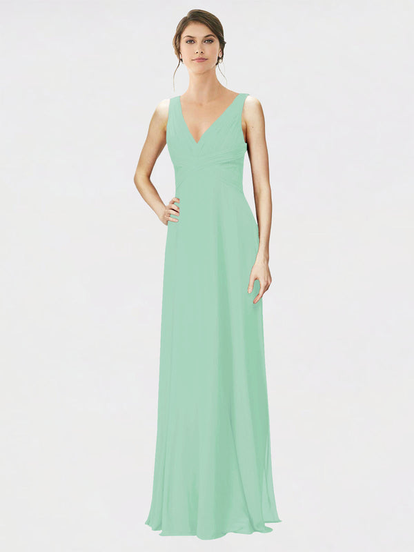 Mila Queen Jennylyn Bridesmaid Dress Mint Green - A-Line V-Neck Long Bridesmaid Gown Jennylyn in Mint Green