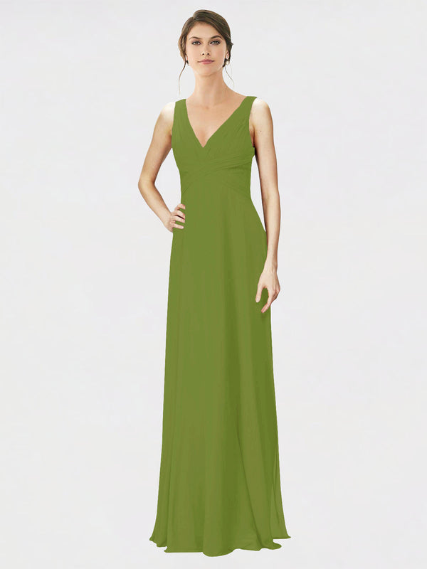 Mila Queen Jennylyn Bridesmaid Dress Olive Green - A-Line V-Neck Long Bridesmaid Gown Jennylyn in Olive Green