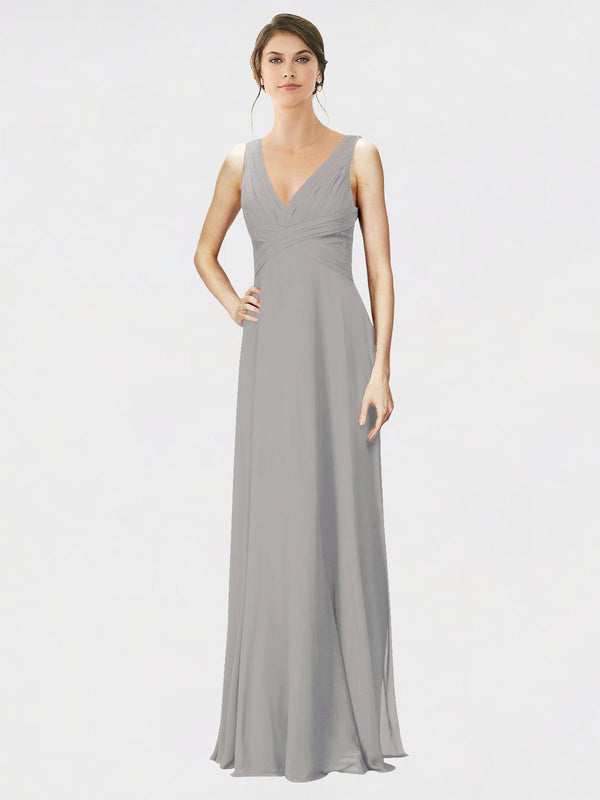 Mila Queen Jennylyn Bridesmaid Dress Oyster Silver - A-Line V-Neck Long Bridesmaid Gown Jennylyn in Oyster Silver