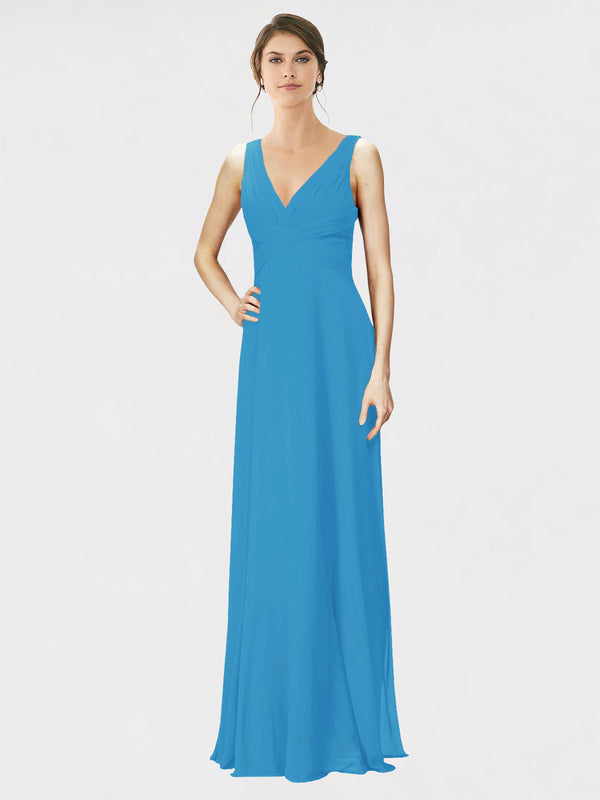 Mila Queen Jennylyn Bridesmaid Dress Peacock Blue - A-Line V-Neck Long Bridesmaid Gown Jennylyn in Peacock Blue