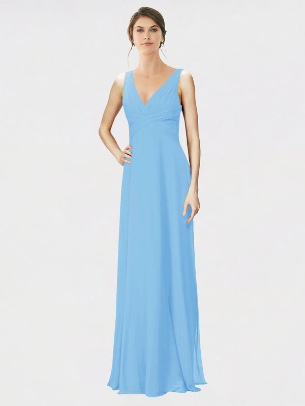 Mila Queen Jennylyn Bridesmaid Dress Periwinkle - A-Line V-Neck Long Bridesmaid Gown Jennylyn in Periwinkle