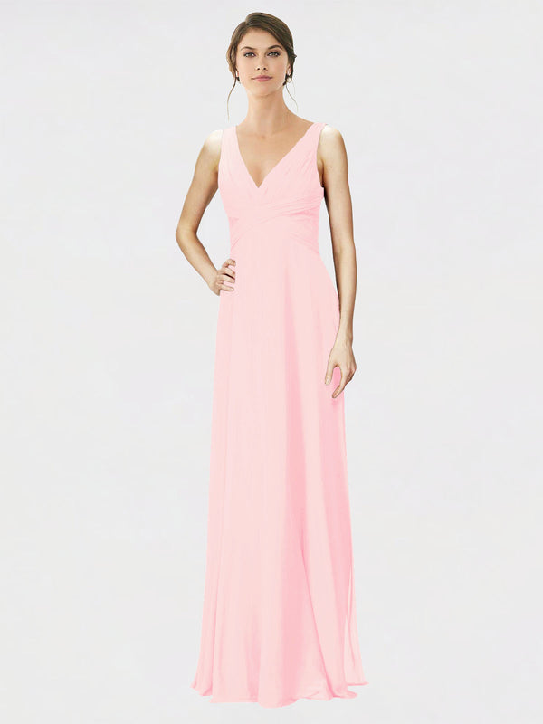 Mila Queen Jennylyn Bridesmaid Dress Pink - A-Line V-Neck Long Bridesmaid Gown Jennylyn in Pink