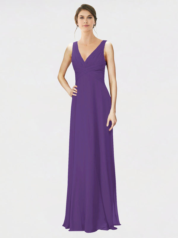 Mila Queen Jennylyn Bridesmaid Dress Plum Purple - A-Line V-Neck Long Bridesmaid Gown Jennylyn in Plum Purple