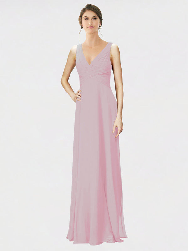 Mila Queen Jennylyn Bridesmaid Dress Primrose - A-Line V-Neck Long Bridesmaid Gown Jennylyn in Primrose