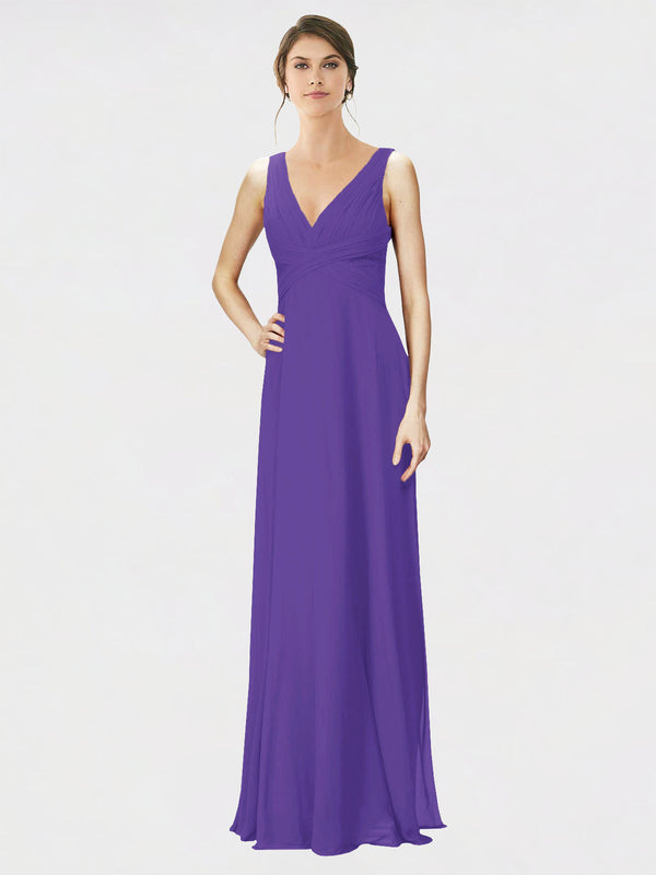 Mila Queen Jennylyn Bridesmaid Dress Purple - A-Line V-Neck Long Bridesmaid Gown Jennylyn in Purple