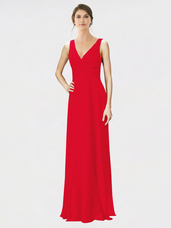 Mila Queen Jennylyn Bridesmaid Dress Red - A-Line V-Neck Long Bridesmaid Gown Jennylyn in Red