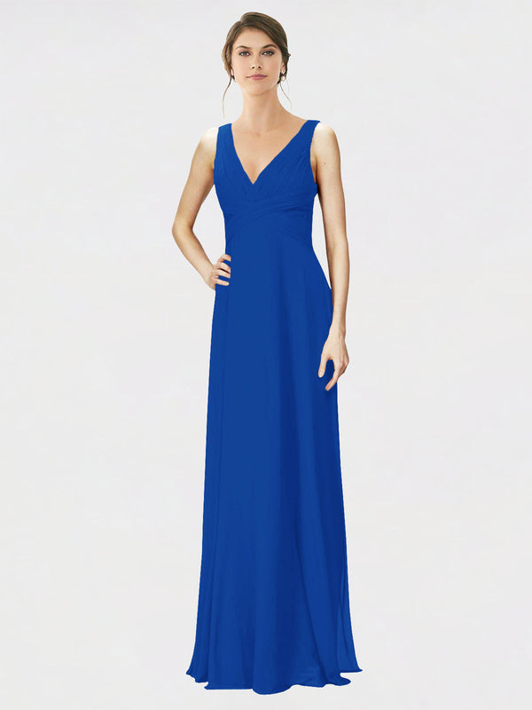 Mila Queen Jennylyn Bridesmaid Dress Royal Blue - A-Line V-Neck Long Bridesmaid Gown Jennylyn in Royal Blue