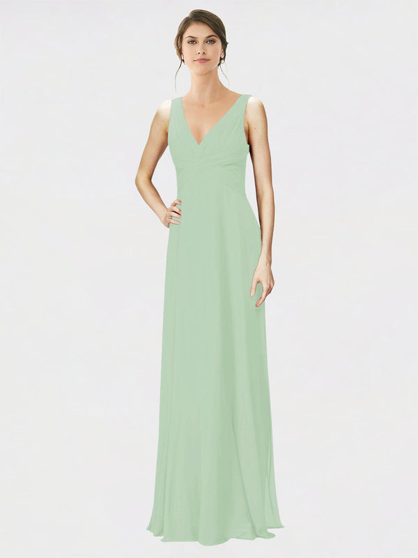 Mila Queen Jennylyn Bridesmaid Dress Sage - A-Line V-Neck Long Bridesmaid Gown Jennylyn in Sage