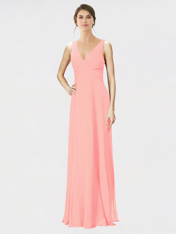 Mila Queen Jennylyn Bridesmaid Dress Salmon - A-Line V-Neck Long Bridesmaid Gown Jennylyn in Salmon