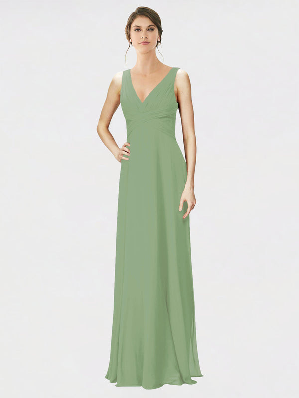 Mila Queen Jennylyn Bridesmaid Dress Seagrass - A-Line V-Neck Long Bridesmaid Gown Jennylyn in Seagrass