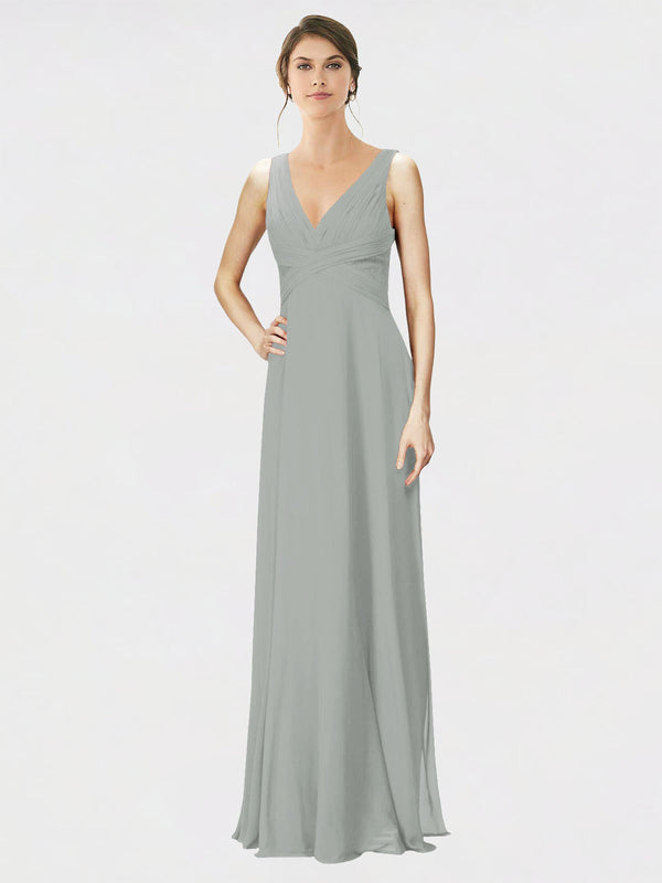 Mila Queen Jennylyn Bridesmaid Dress Silver - A-Line V-Neck Long Bridesmaid Gown Jennylyn in Silver