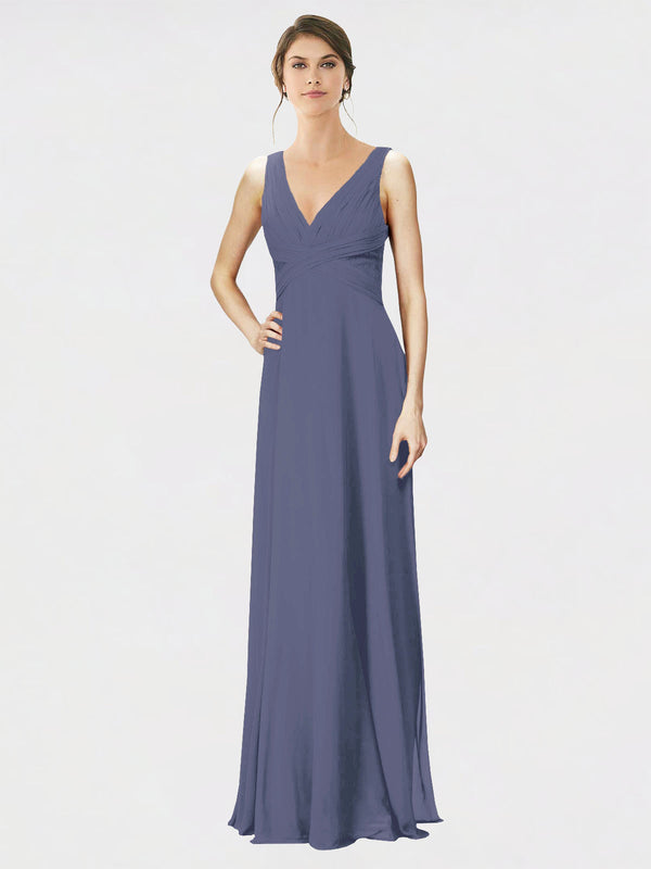 Mila Queen Jennylyn Bridesmaid Dress Silver Stone - A-Line V-Neck Long Bridesmaid Gown Jennylyn in Silver Stone