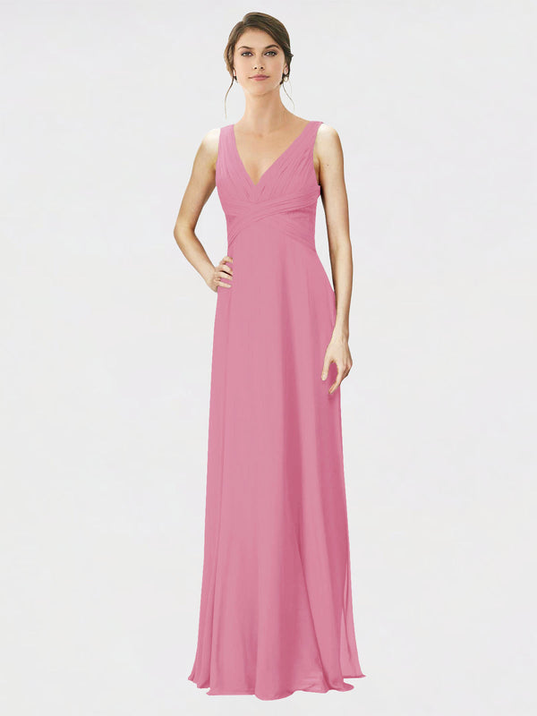 Mila Queen Jennylyn Bridesmaid Dress Skin Pink - A-Line V-Neck Long Bridesmaid Gown Jennylyn in Skin Pink