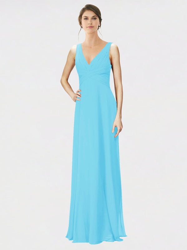Mila Queen Jennylyn Bridesmaid Dress Sky Blue - A-Line V-Neck Long Bridesmaid Gown Jennylyn in Sky Blue