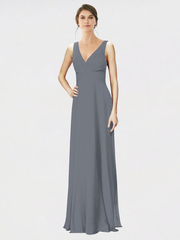 Mila Queen Jennylyn Bridesmaid Dress Slate Grey - A-Line V-Neck Long Bridesmaid Gown Jennylyn in Slate Grey