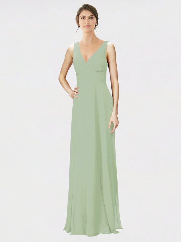 Mila Queen Jennylyn Bridesmaid Dress Smoke Green - A-Line V-Neck Long Bridesmaid Gown Jennylyn in Smoke Green