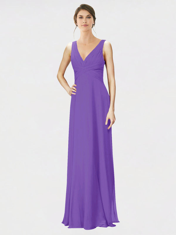 Mila Queen Jennylyn Bridesmaid Dress Tahiti - A-Line V-Neck Long Bridesmaid Gown Jennylyn in Tahiti