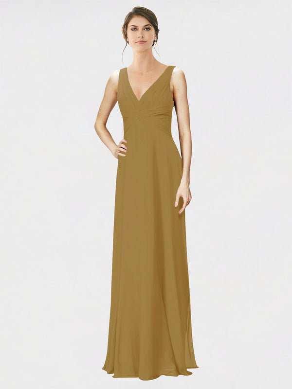 Mila Queen Jennylyn Bridesmaid Dress Topaz - A-Line V-Neck Long Bridesmaid Gown Jennylyn in Topaz