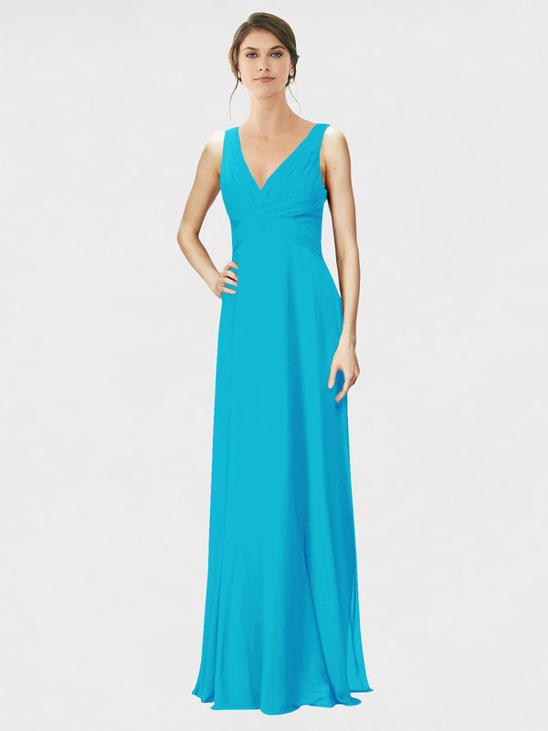 Mila Queen Jennylyn Bridesmaid Dress Turquoise - A-Line V-Neck Long Bridesmaid Gown Jennylyn in Turquoise