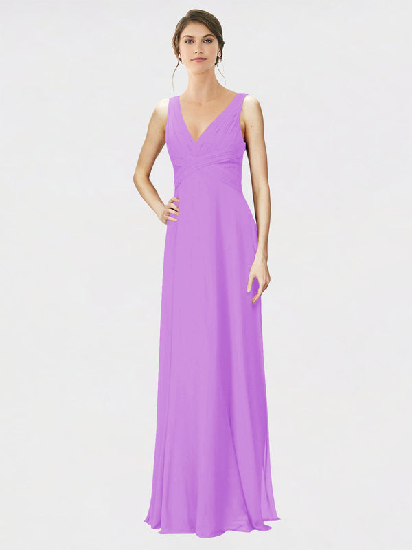Mila Queen Jennylyn Bridesmaid Dress Violet - A-Line V-Neck Long Bridesmaid Gown Jennylyn in Violet