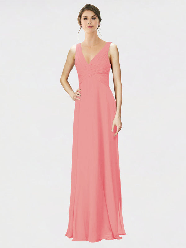 Mila Queen Jennylyn Bridesmaid Dress Watermelon - A-Line V-Neck Long Bridesmaid Gown Jennylyn in Watermelon