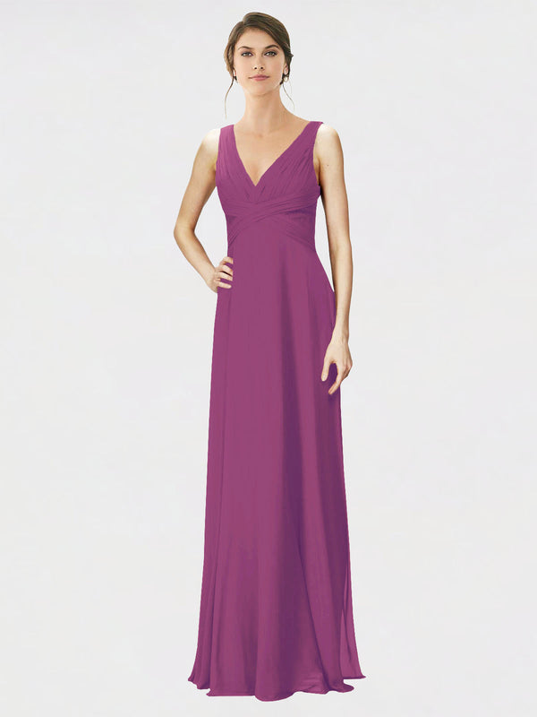 Mila Queen Jennylyn Bridesmaid Dress Wild Berry - A-Line V-Neck Long Bridesmaid Gown Jennylyn in Wild Berry
