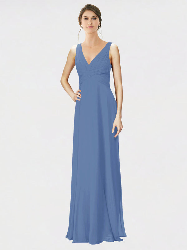 Mila Queen Jennylyn Bridesmaid Dress Windsor Blue - A-Line V-Neck Long Bridesmaid Gown Jennylyn in Windsor Blue