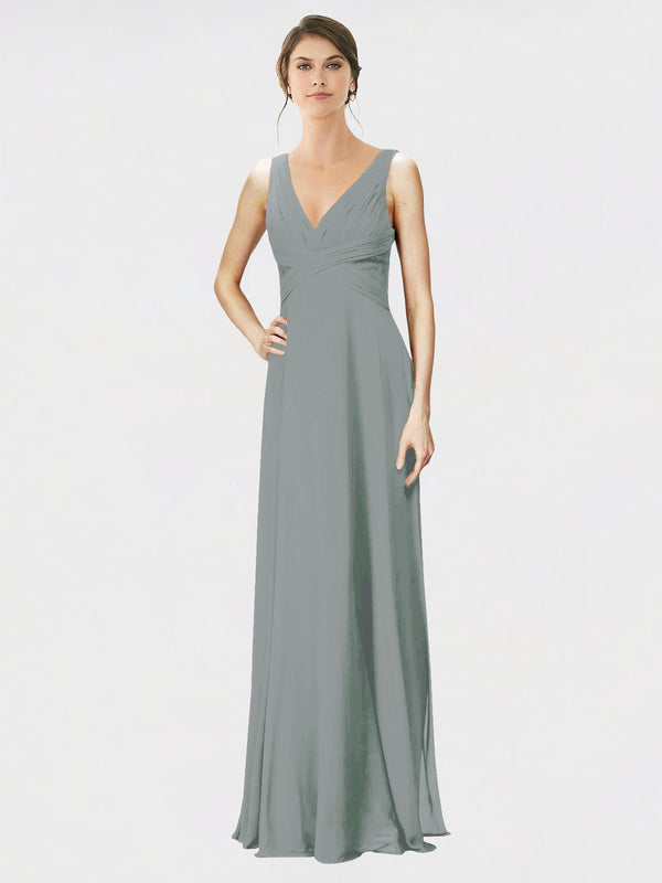 Mila Queen Jennylyn Bridesmaid Dress Wisteria - A-Line V-Neck Long Bridesmaid Gown Jennylyn in Wisteria