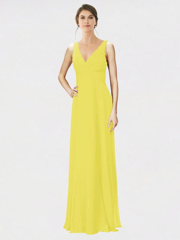 Mila Queen Jennylyn Bridesmaid Dress Yellow - A-Line V-Neck Long Bridesmaid Gown Jennylyn in Yellow
