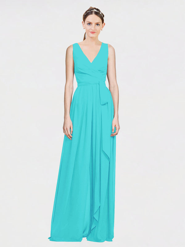 Mila Queen Kia Bridesmaid Dress Aqua - A-Line V-Neck Long Bridesmaid Gown Kia in Aqua