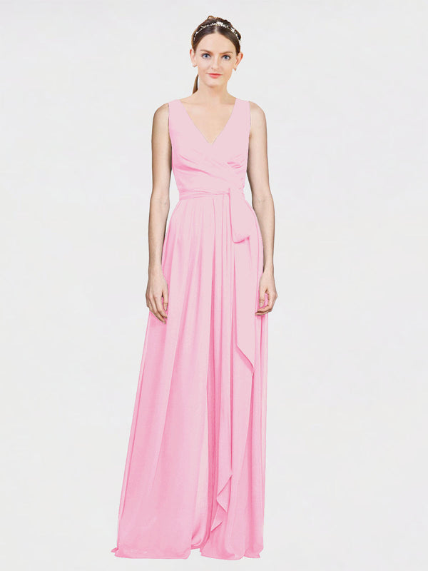 Mila Queen Kia Bridesmaid Dress Barely Pink - A-Line V-Neck Long Bridesmaid Gown Kia in Barely Pink