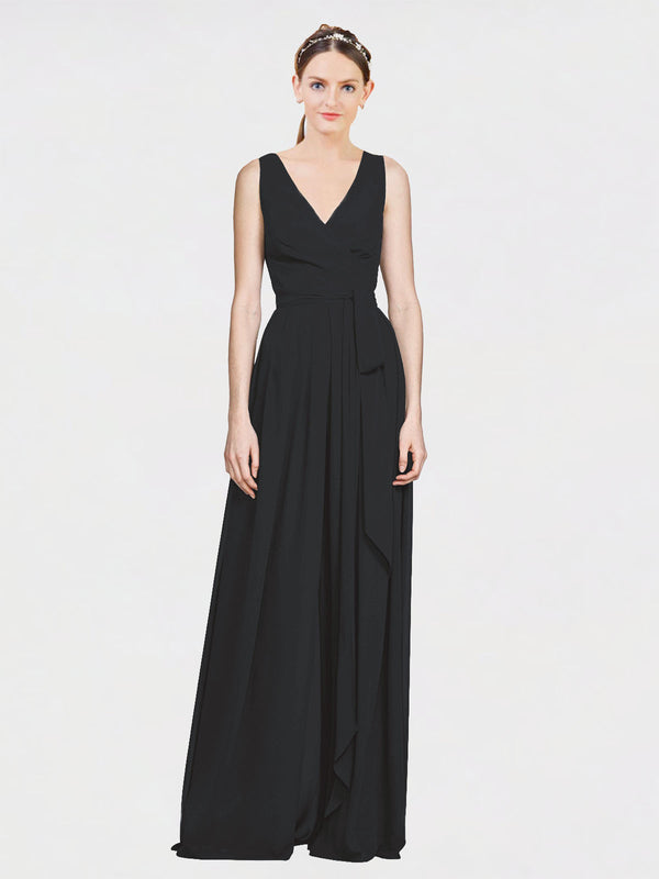 Mila Queen Kia Bridesmaid Dress Black - A-Line V-Neck Long Bridesmaid Gown Kia in Black