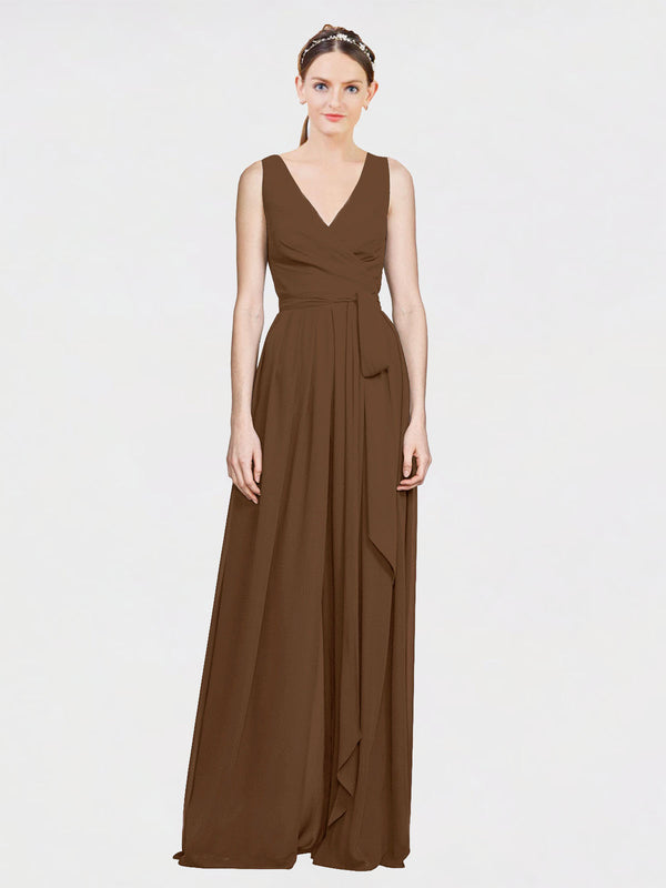 Mila Queen Kia Bridesmaid Dress Brown - A-Line V-Neck Long Bridesmaid Gown Kia in Brown