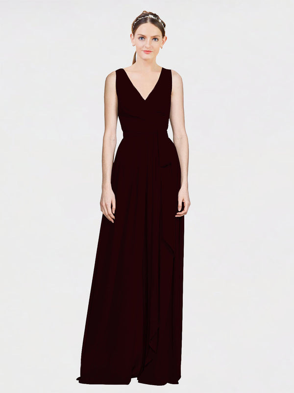Mila Queen Kia Bridesmaid Dress Burgundy Gold - A-Line V-Neck Long Bridesmaid Gown Kia in Burgundy Gold