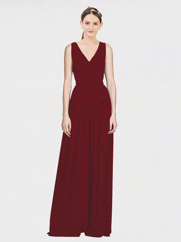 Mila Queen Kia Bridesmaid Dress Burgundy - A-Line V-Neck Long Bridesmaid Gown Kia in Burgundy