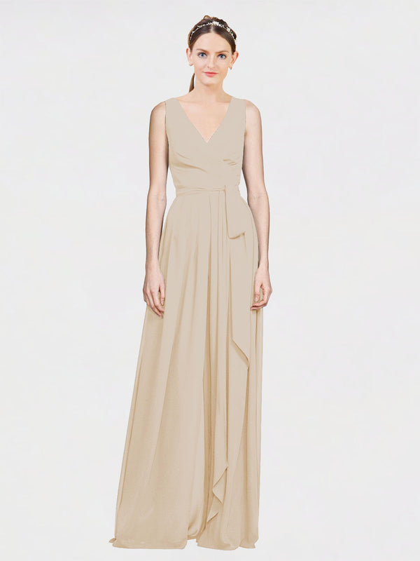 Mila Queen Kia Bridesmaid Dress Champagne - A-Line V-Neck Long Bridesmaid Gown Kia in Champagne