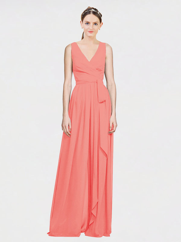 Mila Queen Kia Bridesmaid Dress Coral - A-Line V-Neck Long Bridesmaid Gown Kia in Coral