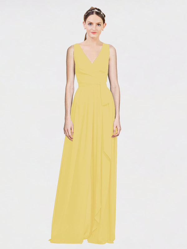 Mila Queen Kia Bridesmaid Dress Daffodil - A-Line V-Neck Long Bridesmaid Gown Kia in Daffodil