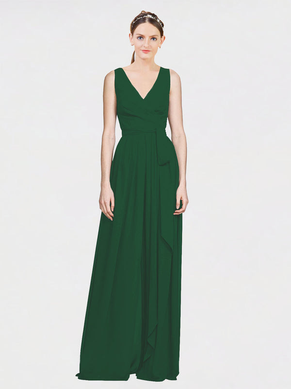 Mila Queen Kia Bridesmaid Dress Dark Green - A-Line V-Neck Long Bridesmaid Gown Kia in Dark Green
