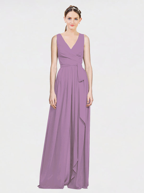 Mila Queen Kia Bridesmaid Dress Dark Lavender - A-Line V-Neck Long Bridesmaid Gown Kia in Dark Lavender