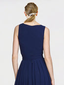 Mila Queen Kia Bridesmaid Dress in Dark Navy - A-Line V-Neck Long Bridesmaid Gown Kia in Dark Navy