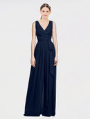 Mila Queen Kia Bridesmaid Dress Dark Navy - A-Line V-Neck Long Bridesmaid Gown Kia in Dark Navy