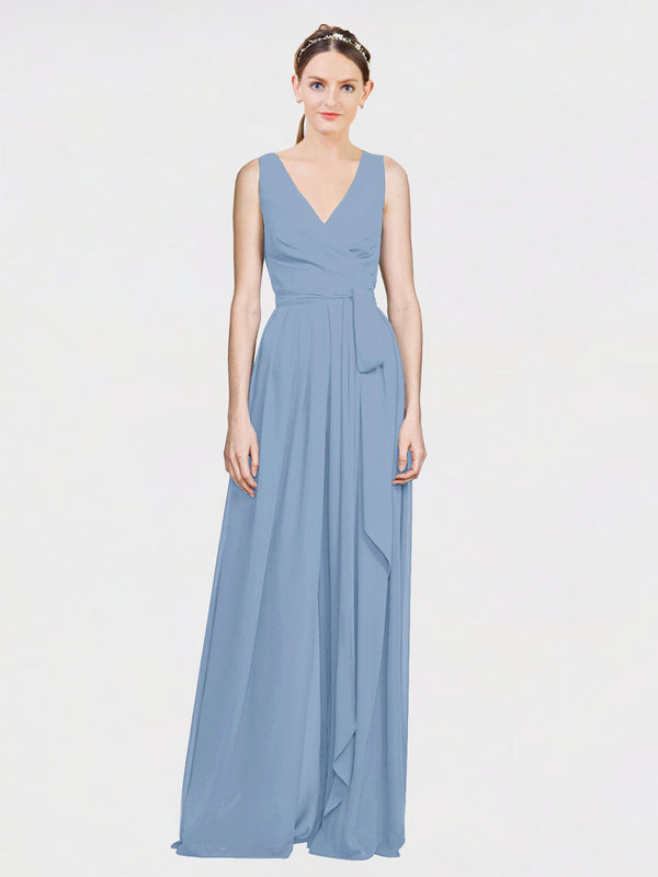 Mila Queen Kia Bridesmaid Dress Dusty Blue - A-Line V-Neck Long Bridesmaid Gown Kia in Dusty Blue