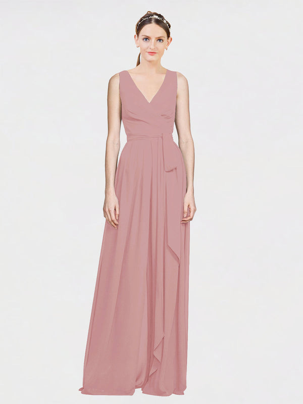Mila Queen Kia Bridesmaid Dress Dusty Pink - A-Line V-Neck Long Bridesmaid Gown Kia in Dusty Pink